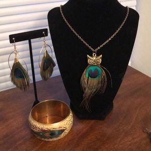 Peacock Necklace, Earrings, and Bracelet Set
